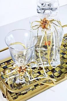 Set gold tray & bronze flower with gold ribbons