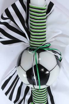 soccer candle ball green - black - white