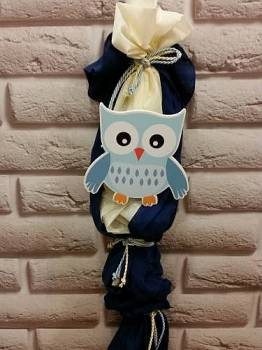 owl - gauze  dark  blue  with  ecru