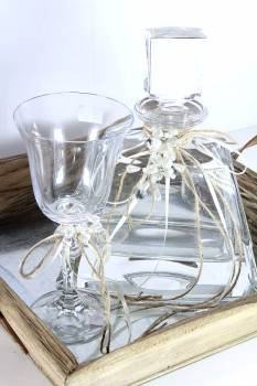 Set square wooden tray with bohemia decanter - glass