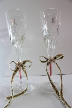 champagne glass  brown - sharper pink floral
