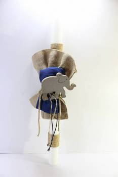 Wooden  elephant  with  gauze  and  burlap (70 cm)