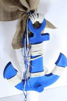 Anchor hanger blue with burlap